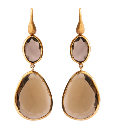 yvel double tear drop smokey quartz earrings 18k yellow gold