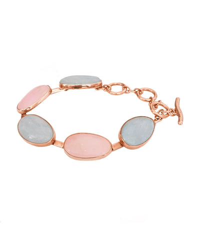 adami & martucci sterling silver pink gold plated bracelet with beryl