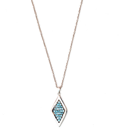 Sterling Silver Rhodium Plated Necklace with Blue Topaz
