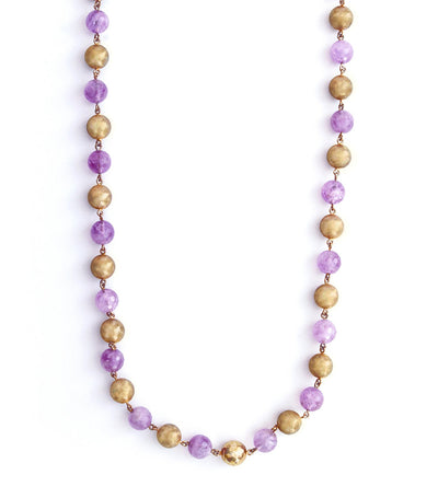 adami & martucci sterling silver pink gold plated necklace with lavender amethyst