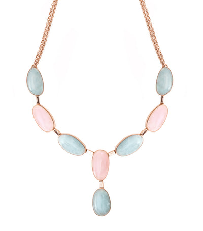 adami & martucci sterling silver pink gold plated necklace with beryl