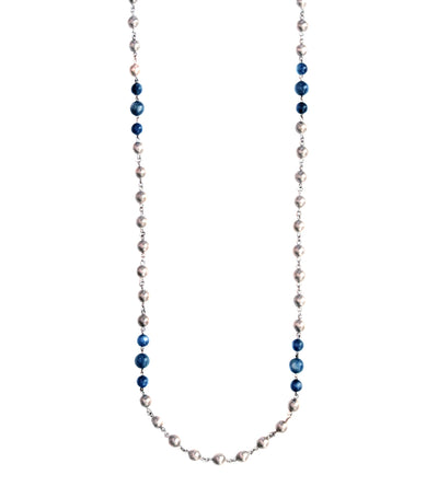 Sterling Silver Rhodium Plated Long Necklace with Kyanite