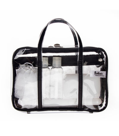 beauty essentials clear weekender kit
