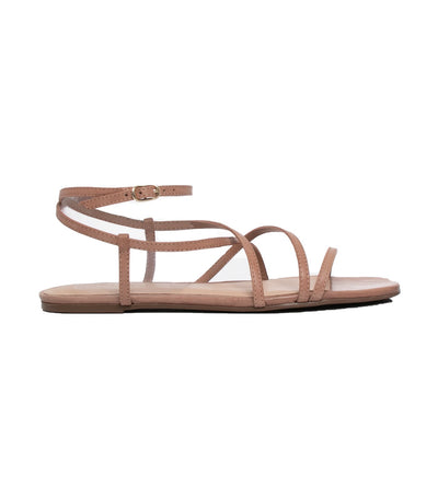 arezzo flat leather strap sandals beige