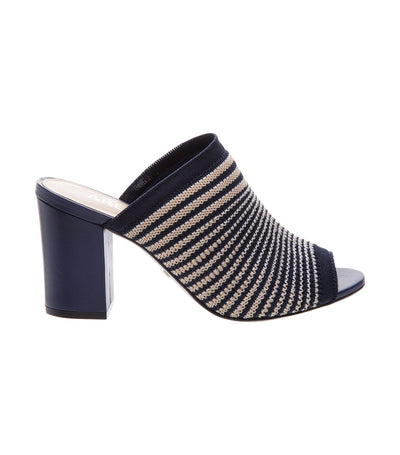 arezzo striped knit indigo mules