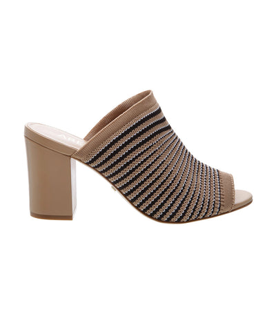 arezzo striped knit beige mules