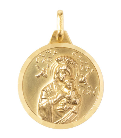 argyor 18k yellow gold medal our lady of perpetual help and sacred heart 20mm pendant