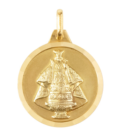 18k yellow gold medal sto. niño de cebu 18mm pendant