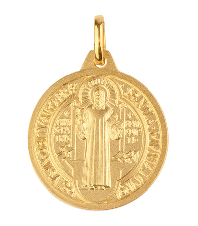 argyor 18k yellow gold st. benedict scapulary 20mm pendant