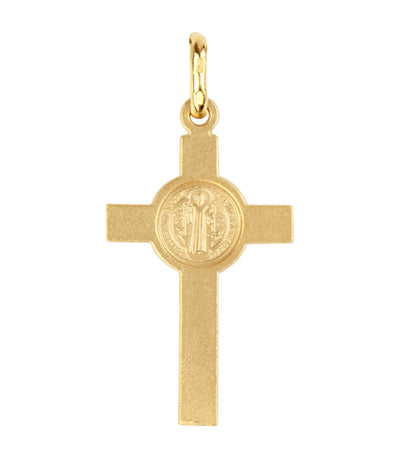 argyor 18k yellow gold st. benedict cross pendant