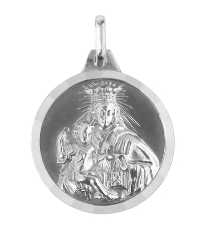 argyor 18k white gold medal scapular carmel and sacred heart 22mm pendant