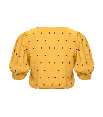 astr drew top mustard dot