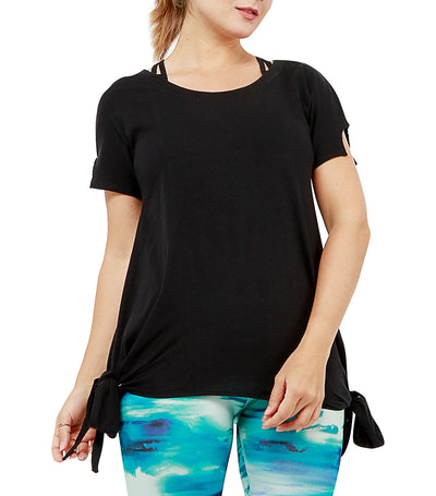 atsui ayuka short-sleeved layer top black