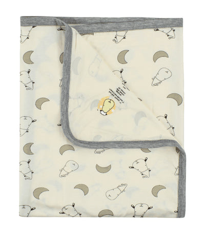 baa baa sheepz yellow single layer baby blanket - small moon & sheepz