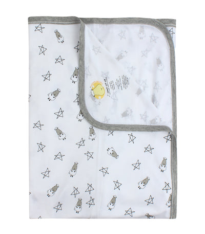 baa baa sheepz white single layer toddler blanket - small star & sheepz