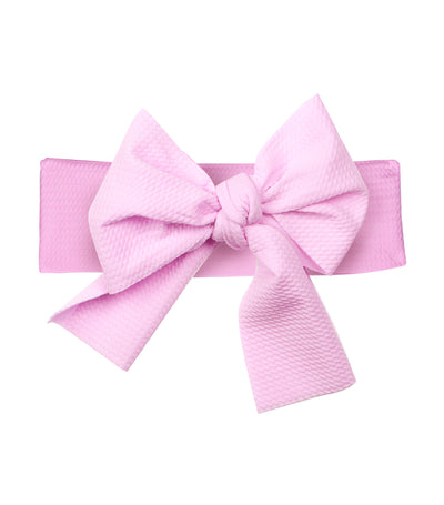 baby club light pink lana bow soft elastic baby textured headwrap