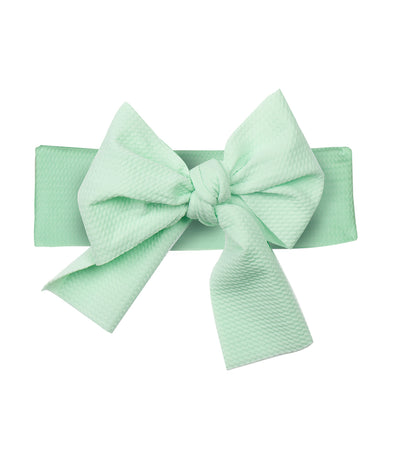 baby club mint green lana bow soft elastic baby textured headwrap