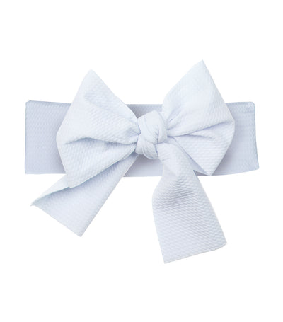 baby club white lana bow soft elastic baby textured headwrap