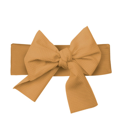 baby club mustard lana bow soft elastic baby textured headwrap