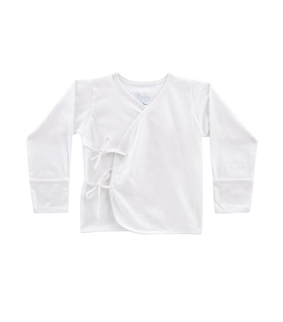 baby club white tie-side long-sleeved shirt single