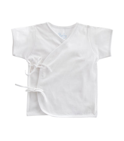 baby club white tie-side short-sleeved shirt singles