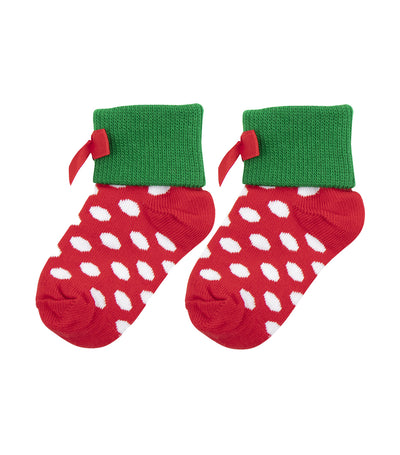 baby club red and green jean christmas socks