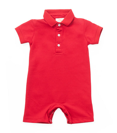 baby club red billy polo romper