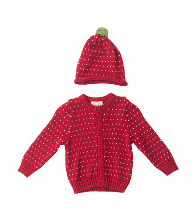 baby club red caleb strawberry cotton flat knit sweater and bonnet set