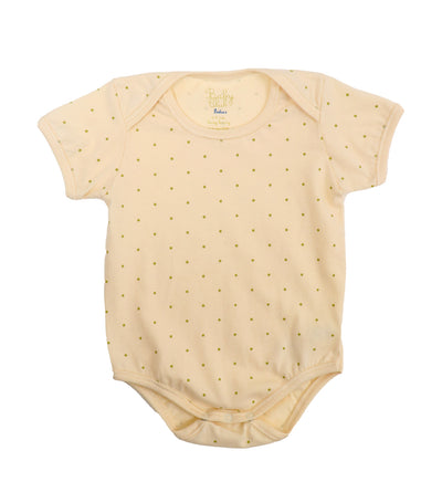 baby club cream onyss organic short-sleeved overlap romper