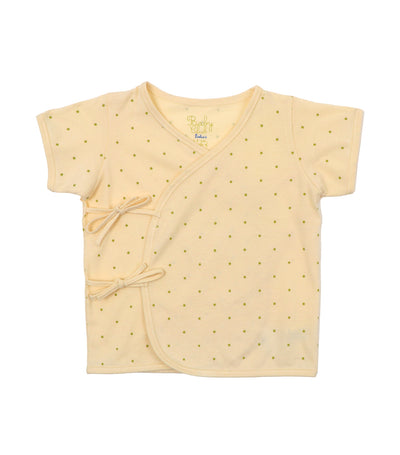 baby club cream tibys organic short-sleeved tie-side