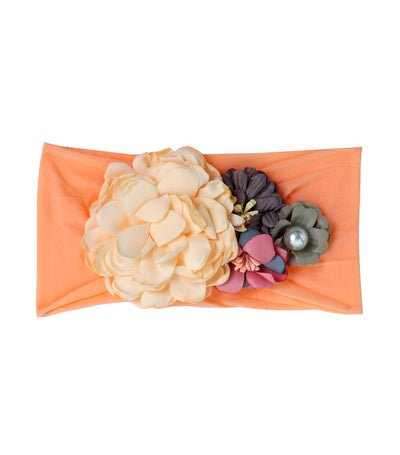 baby club peach lacey floral applique headwrap