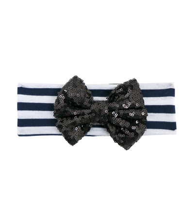 baby club black holly sequined bow striped headwrap