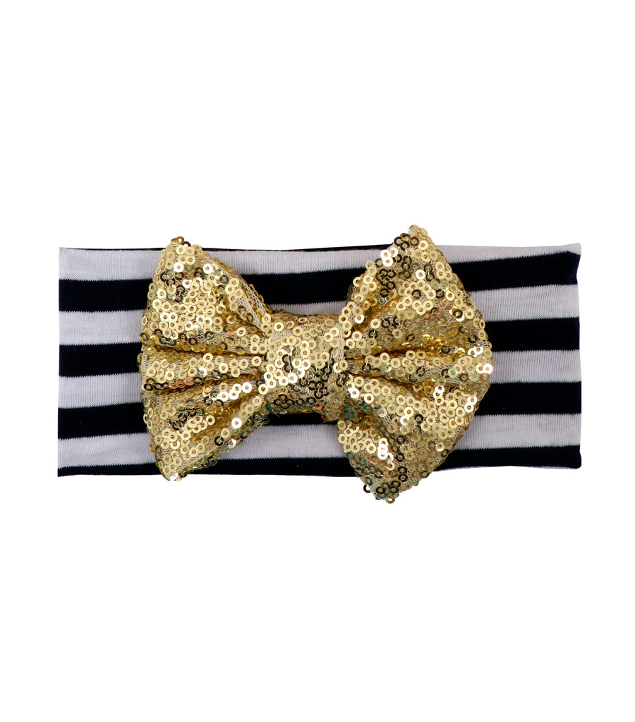 baby club gold holly sequined bow striped headwrap