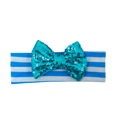 baby club blue holly sequined bow striped headwrap