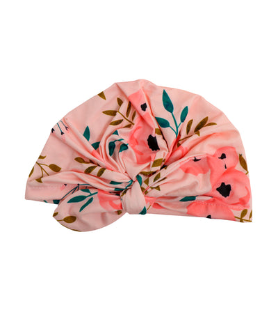 baby club pink sally printed stretch baby turban