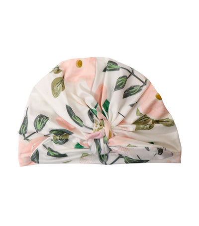 baby club white sally printed stretch baby turban