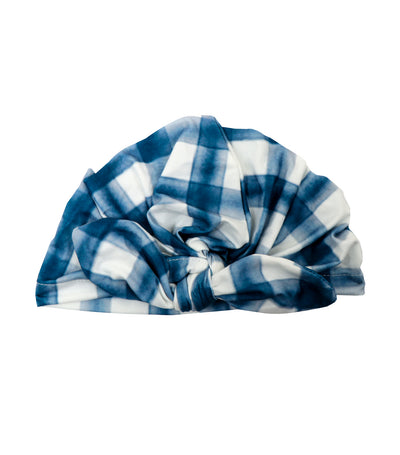 baby club blue sally printed stretch baby turban