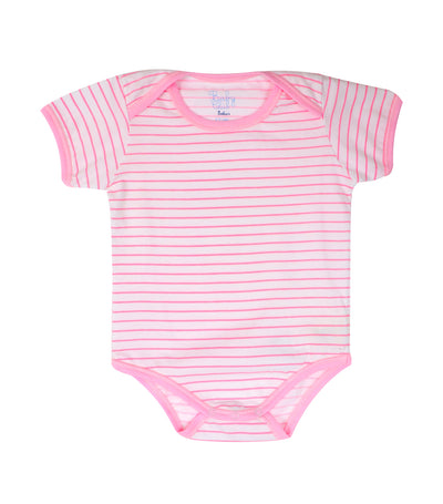 baby club onyss short-sleeved overlap romper - pink stripes