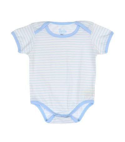 baby club onyss short-sleeved overlap romper - blue stripes
