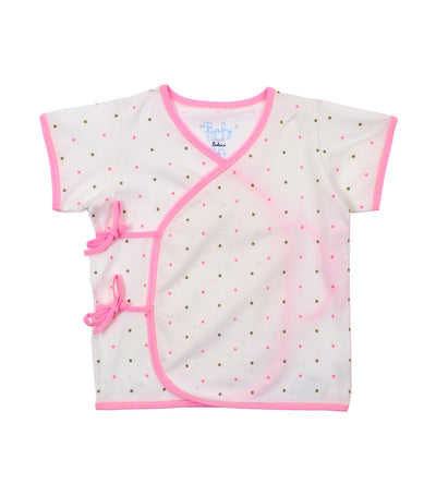 baby club tibys short-sleeved tie-side - pink dots