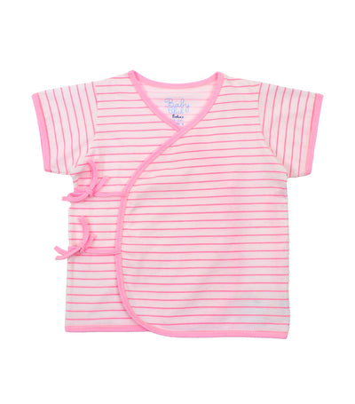 baby club tibys short-sleeved tie-side - pink stripes