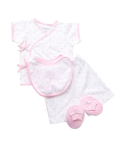 baby club pink dots bibby side-snap bib