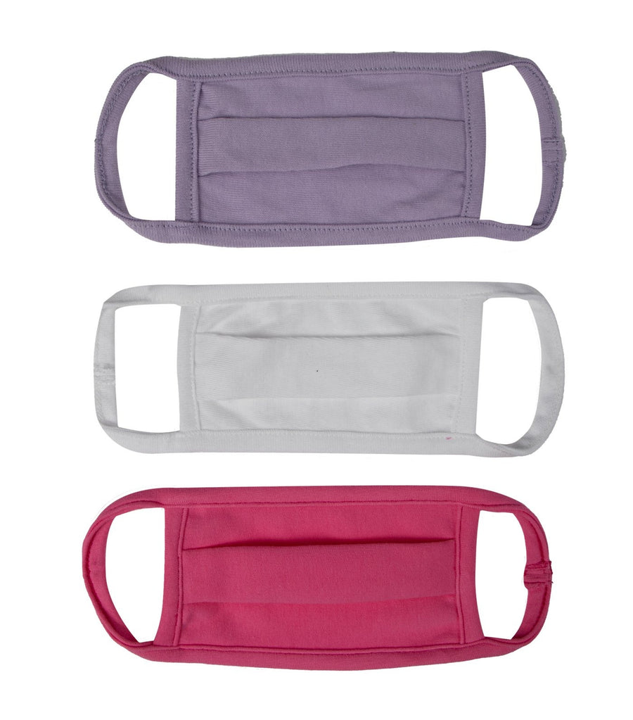 baby club pink, white, and lavender washable baby masks (set of 3)