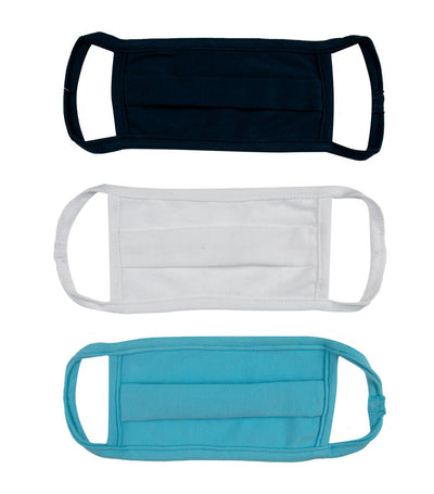 baby club blue, white, and navy blue washable baby masks (set of 3)