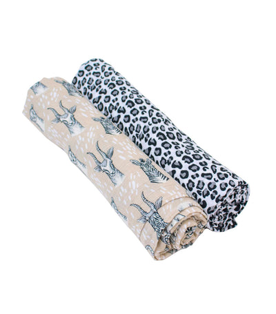 bebe au lait muslin swaddle blanket set - safari and leopard