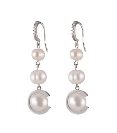 carolee freshwater pearl triple drop c earrings