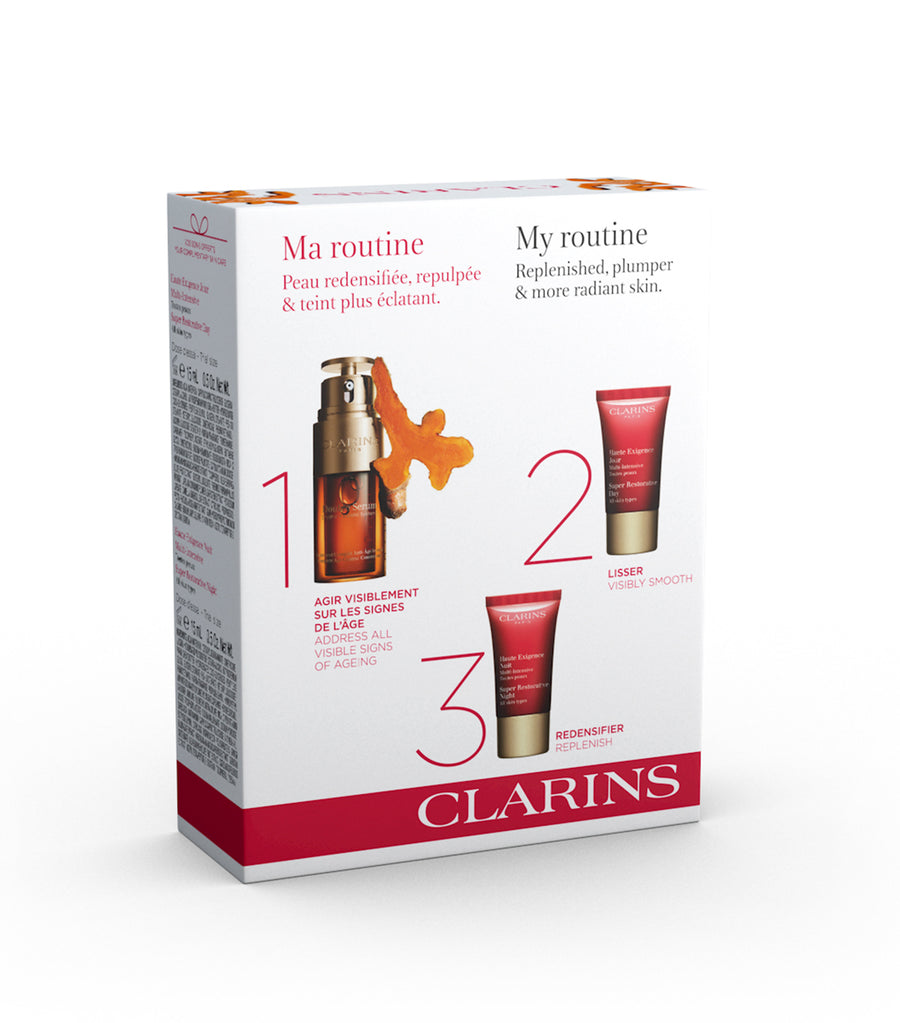 clarins double serum and super restorative collection
