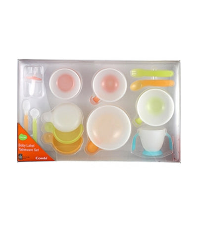 combi baby label tableware step up set