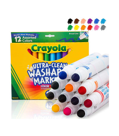 crayola ultra-clean washable broad line markers 12 count - assorted colors