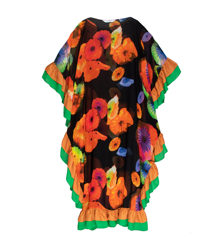 criselda kaftan ruffle maxi dress multicolor